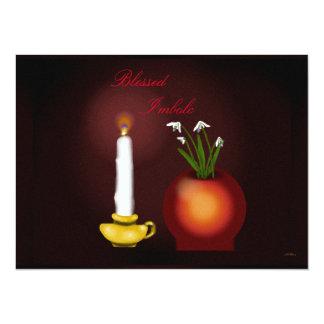Imbolc Imbolg Candle and Snowdrops Brid Brighid 14 Cm X 19 Cm Invitation Card