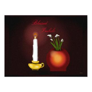 Imbolc Imbolg Candle and Snowdrops Brid Brighid 17 Cm X 22 Cm Invitation Card