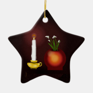 Imbolc Imbolg Candle and Snowdrops Brid Brighid Christmas Ornament