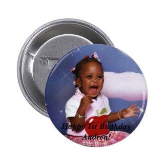 img034, Happy 1st Birthday Andrea! 6 Cm Round Badge