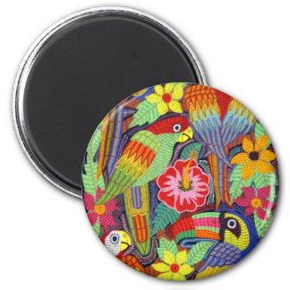 IMG_5319 Birds of Panama Mola 6 Cm Round Magnet