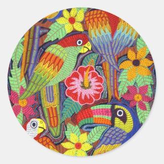 IMG_5319 Birds of Panama Mola Round Sticker