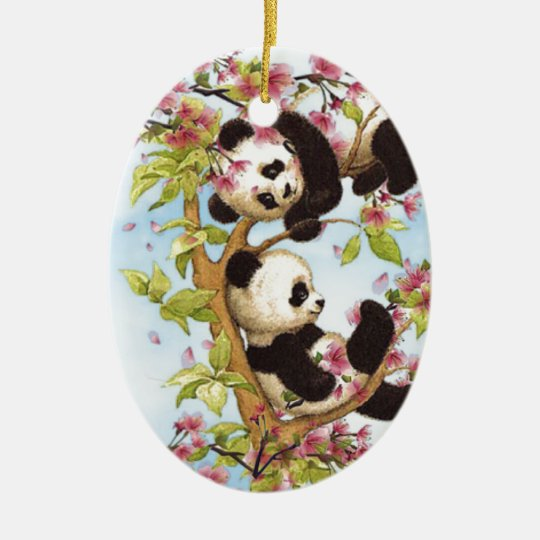 IMG_7386.PNG cute and colourful panda designed Christmas Ornament