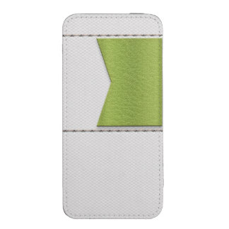 Imitation of white leather, seams, green label