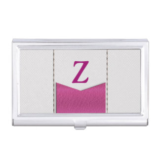 Imitation of white leather, seams, pink label case for business cards