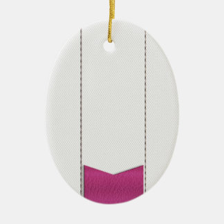 Imitation of white leather, seams, pink label ceramic oval decoration