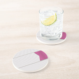 Imitation of white leather, seams, pink label drink coasters