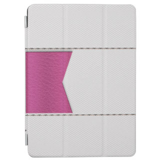 Imitation of white leather, seams, pink label iPad air cover