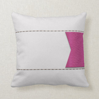 Imitation of white leather, seams, pink label pillows