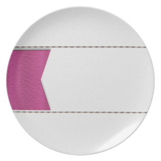 Imitation of white leather, seams, pink label dinner plates