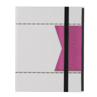 Imitation of white leather, seams, pink label covers for iPad