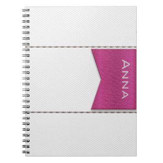 Imitation of white leather, seams, pink label notebook