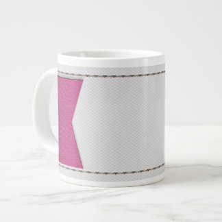 Imitation of white leather, seams, pink label jumbo mug