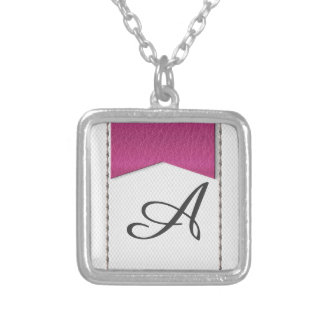 Imitation of white leather, seams, pink label square pendant necklace