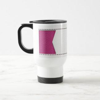 Imitation of white leather, seams, pink label stainless steel travel mug