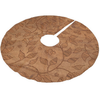 Imitation Wood With Texture of Leaves Brushed Polyester Tree Skirt