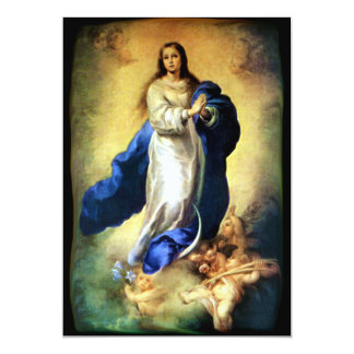 Immaculate Conception of Virgin Mary - Murillo 13 Cm X 18 Cm Invitation Card