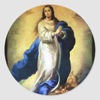Immaculate Conception of Virgin Mary - Murillo Round Sticker