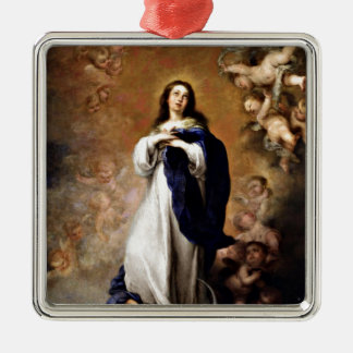 Immaculate Conception Silver-Colored Square Decoration
