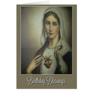 Immaculate Heart of Mary Birthday w/roses Card