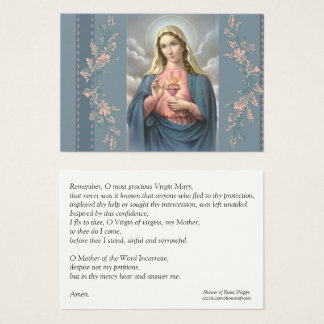 Immaculate Heart of Mary Memorare Prayer Holy Card