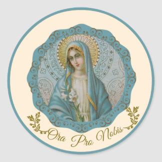 Immaculate Virgin Mary Vintage Lily Latin Round Sticker