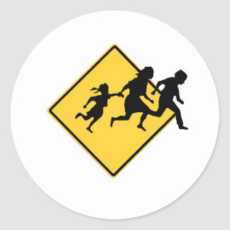 Immigrant crossing round stickers