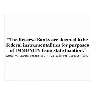 Immunity of the Federal Reserve Banks Lewis v US Postcard