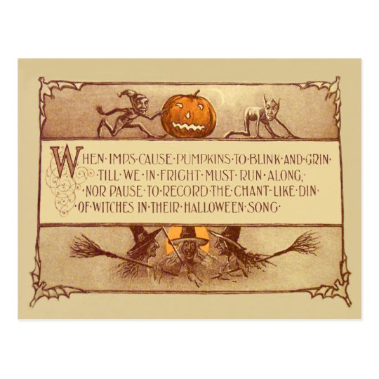 Imp Jack O' Lantern Witch Moon Bat Postcard