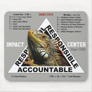 Impact Center mouse pad with Short Cuts