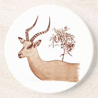 Impala Antelope Animal Wildlife Drawing Sketch Sandstone Coaster