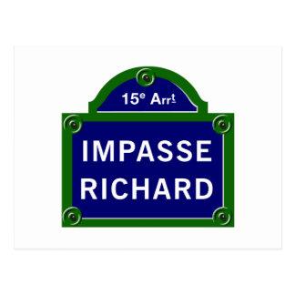 Impasse Richard, Paris Street Sign Postcard