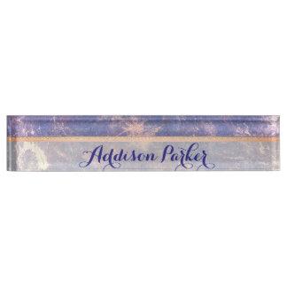 Impatient Desk   Name Plum Purple Gold Splatter Nameplate