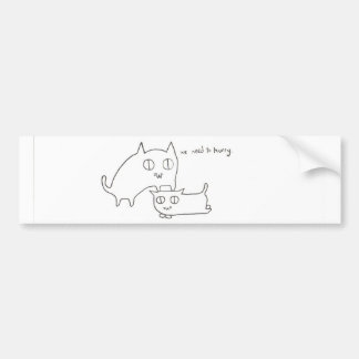 Impatient Kitty and Friend Car Bumper Sticker