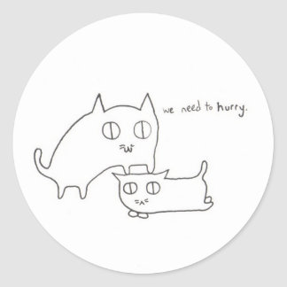 Impatient Kitty and Friend Round Stickers