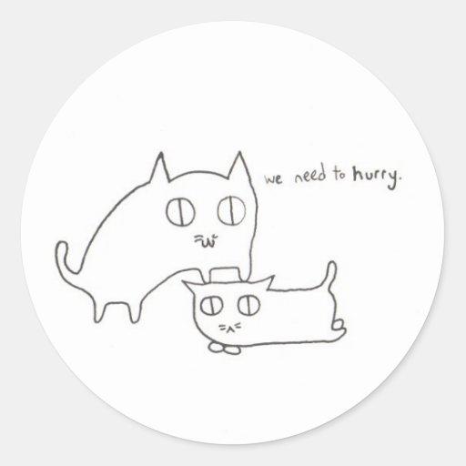 Impatient Kitty and Friend Round Stickers