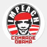 Impeach Comrade Obama Classic Round Sticker