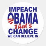Impeach Obama Classic Round Sticker