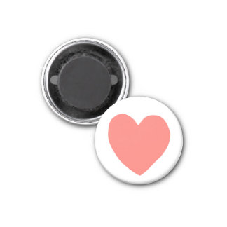 imperfect heart (salmon) 3 cm round magnet