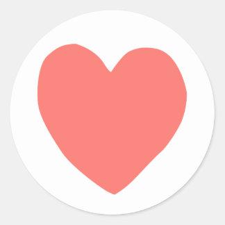 imperfect heart (salmon) round sticker