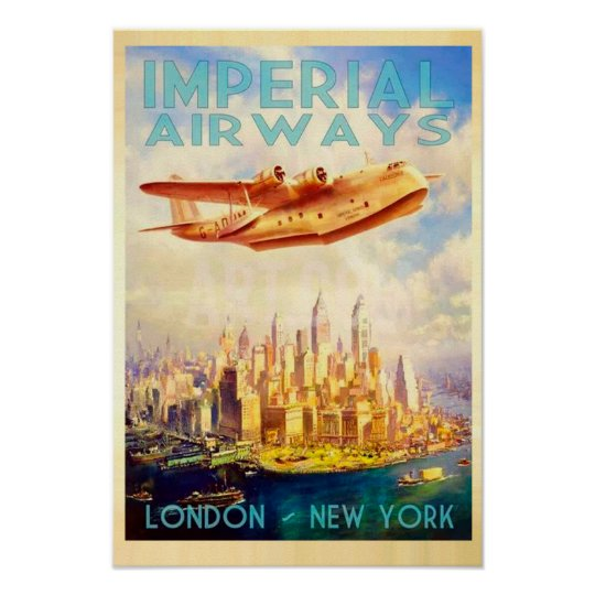 Imperial Airways London & New York Vintage Travel Poster