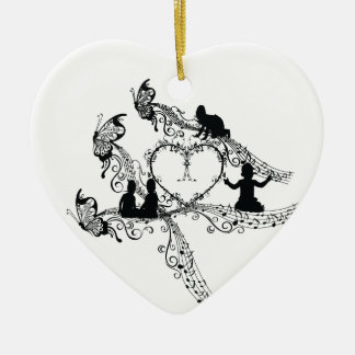 Imperial court music baby sitter 唄 ceramic heart decoration