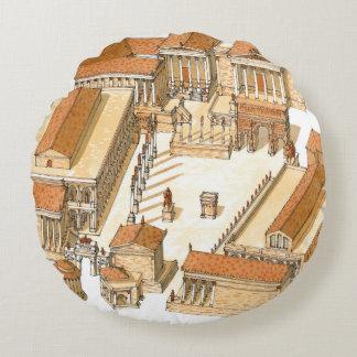 Imperial Forum. Rome. Aerial view Round Cushion