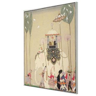 Imperial Procession (colour litho) Canvas Print