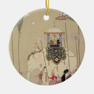 Imperial Procession (colour litho) Round Ceramic Decoration