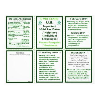Important 2014 Tax Dates / Helplines Pamphlet 21.5 Cm X 28 Cm Flyer