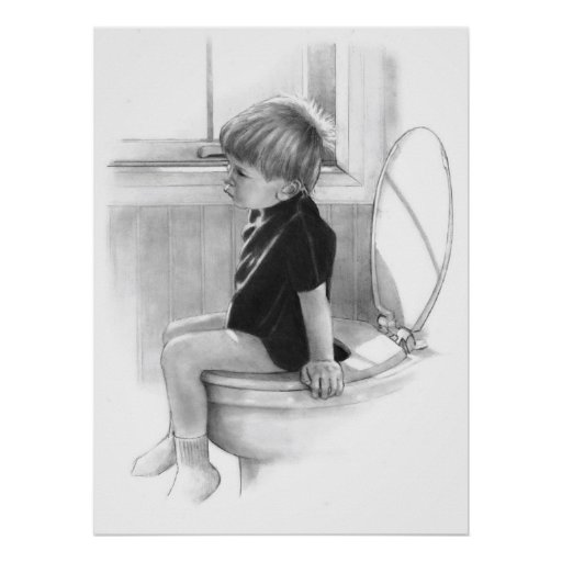 IMPORTANT BUSINESS: BOY ON TOILET, PENCIL POSTER
