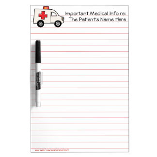 Important Patient Medical Info (Personalized) Dry Erase Whiteboards