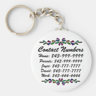 Important Phone Numbers Basic Round Button Key Ring
