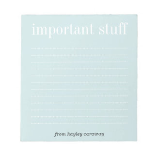 Important stuff baby blue lined memo pad